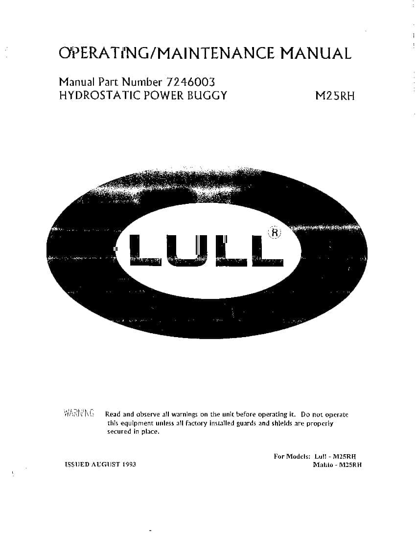 CONCRETE BUGGIES PRIME MOVER LULL M25RH Parts Manual PDF