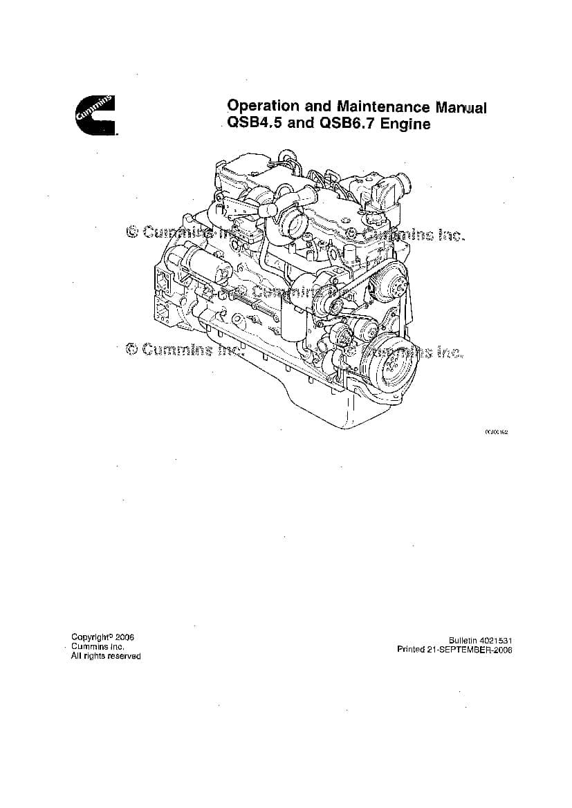 CUMMINS QSB4.5 & 6.7 Engine Operation and Maintenance
