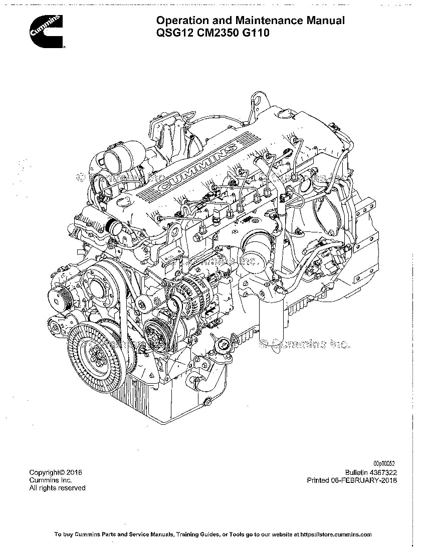 CUMMINS QSG12 Engine Operation and Maintenance Manual PDF