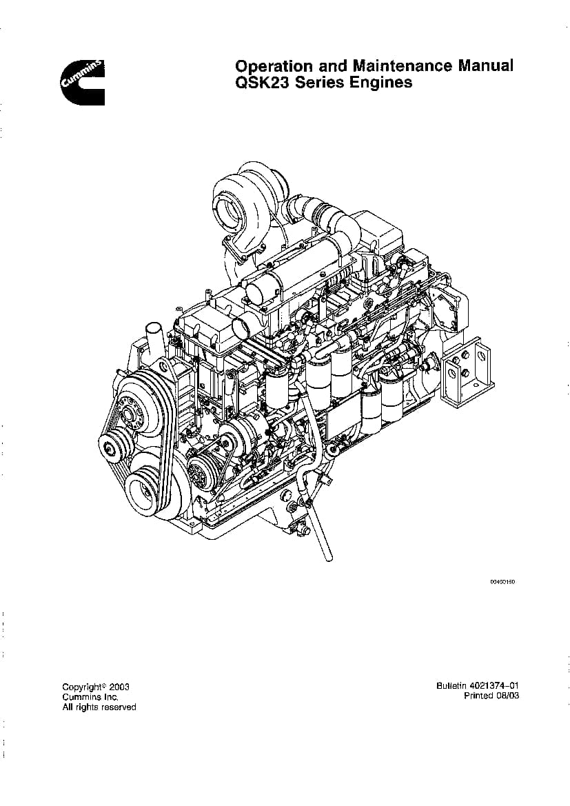 CUMMINS QSK23 Engine Operation and Maintenance Manual PDF