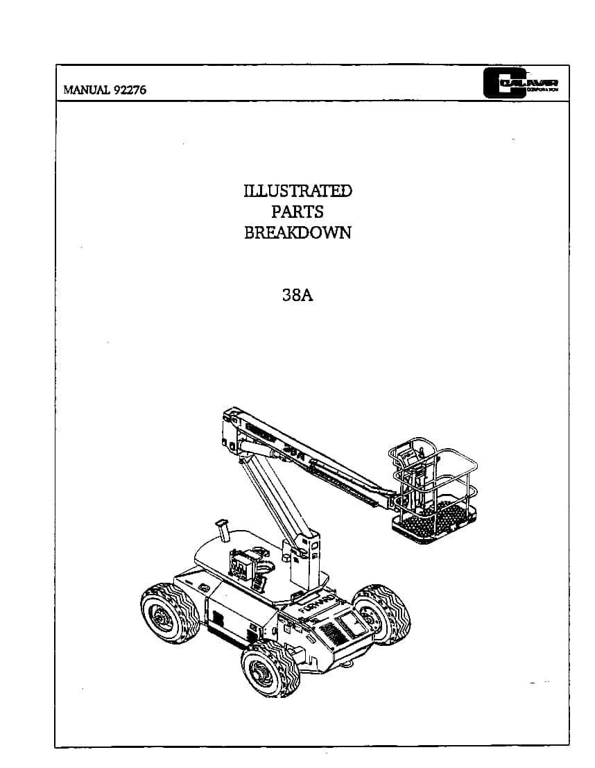 Condor 38A 92276 BOOM LIFT Parts Manual PDF Download