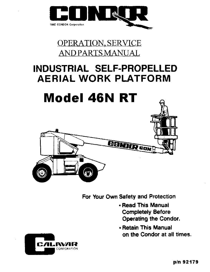 Condor 46N 92179 BOOM LIFT Parts Manual PDF Download