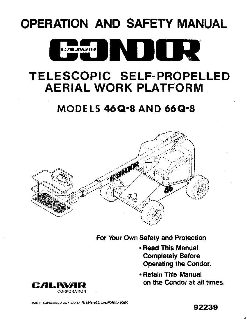 Condor 46Q8 66Q8 92239 BOOM LIFT Parts Manual PDF Download