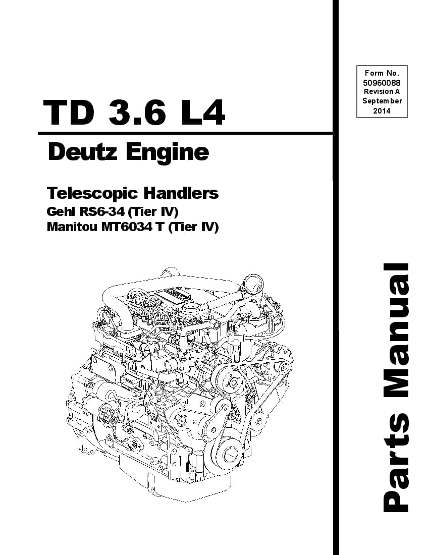 DEUTZ (TIER IV) ENGINE PARTS MANUAL FOR RS6-34 TD-3.6-L4