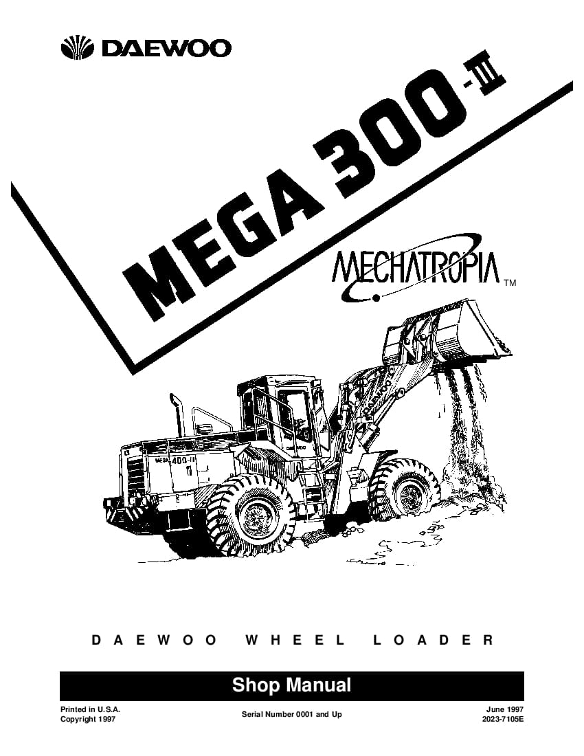 Daewoo Mega 300-III Workshop Repair Service Manual PDF