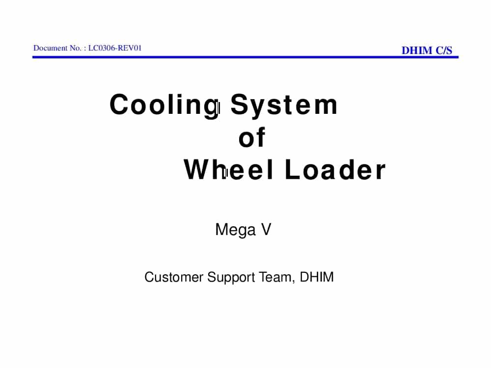 Daewoo Wheel Loader Cooling Mega V Training PDF Download