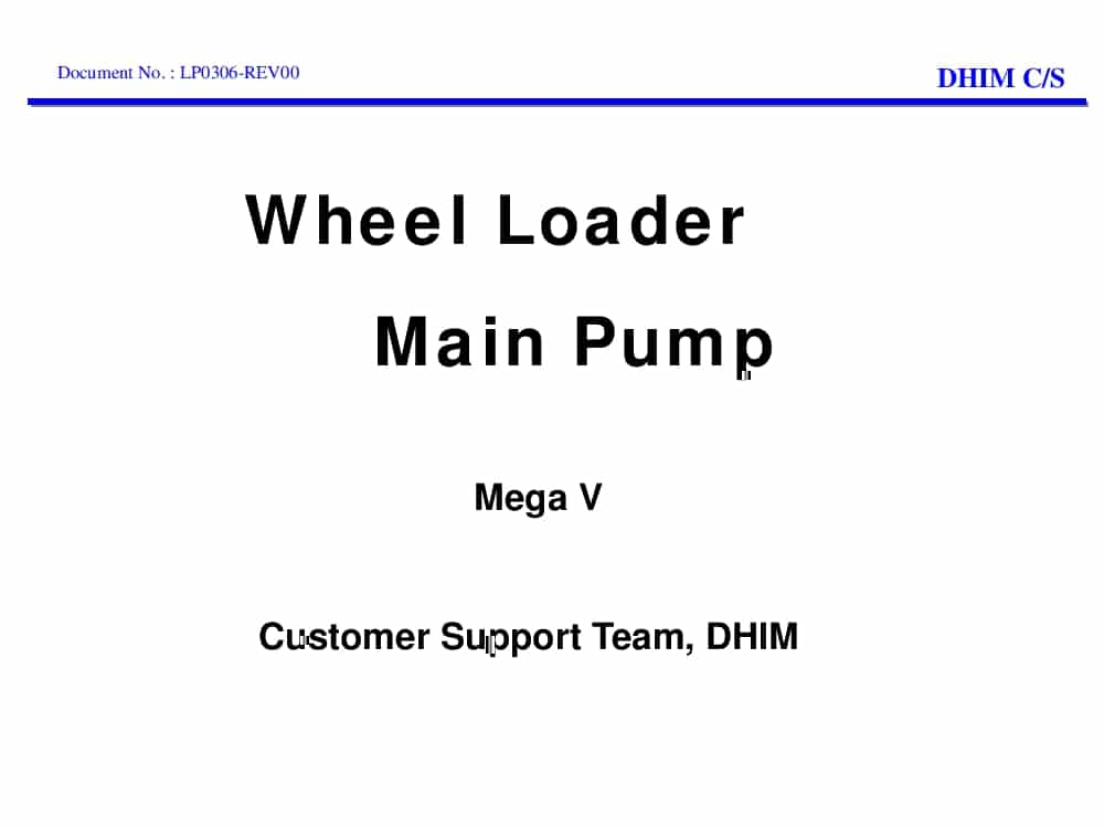 Daewoo Wheel Loader Main Pump Mega V Training PDF Download