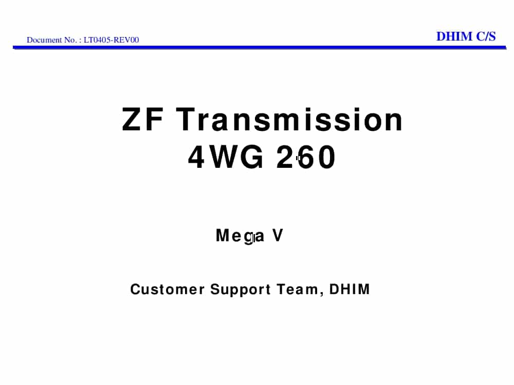 Daewoo Wheel loader ZF Transmission 4WG260 Mega V Training