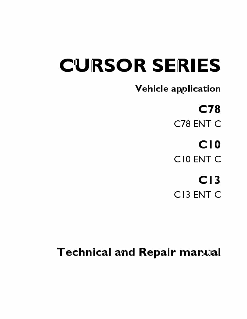 FPT IVECO CURSOR SERIES Vehicle application C78 C78 ENT C