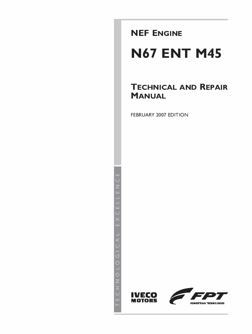 FPT IVECO N67 ENT M45 Workshop Repair Service Manual PDF