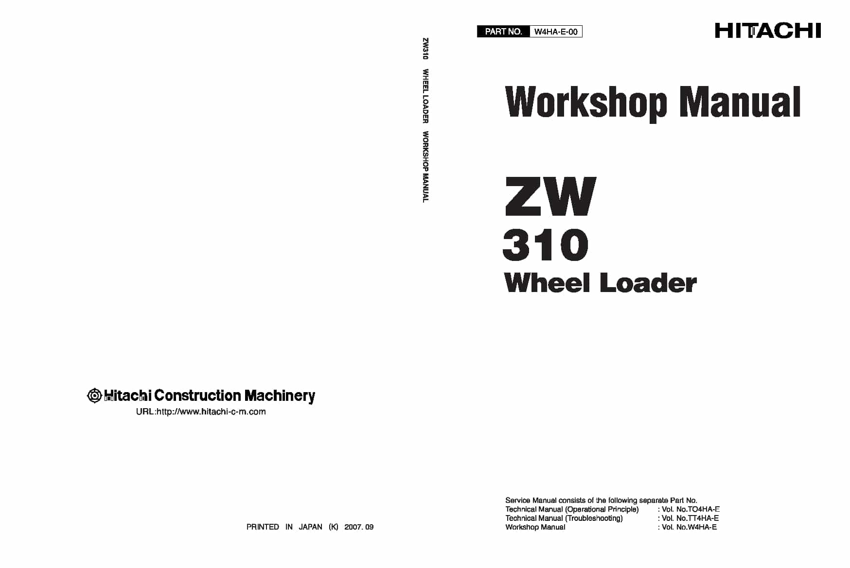 Hitachi ZW310 Wheel Loader Workshop Repair Service Manual