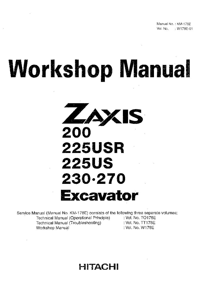 Hitachi ZX200 225 230 270 Excavator Workshop Repair