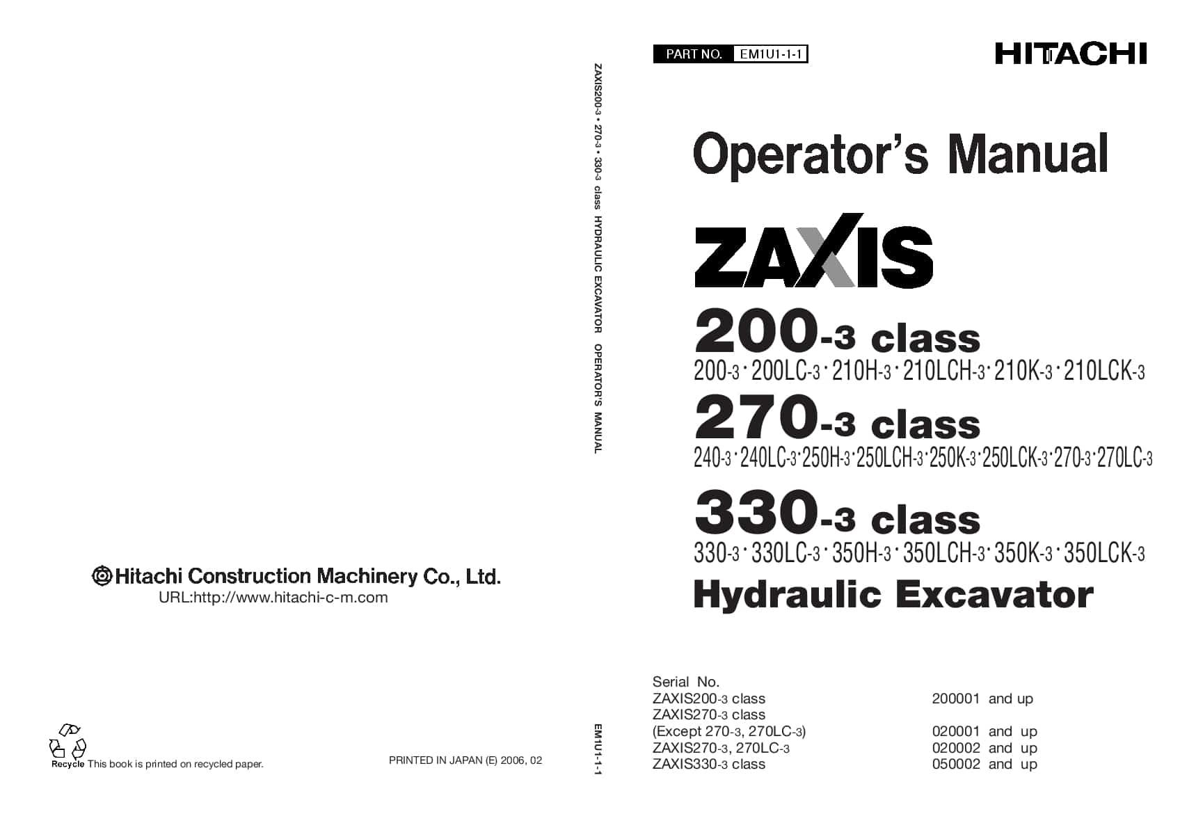 Hitachi ZX200-3 210 240 250 270 330 350 Excavator