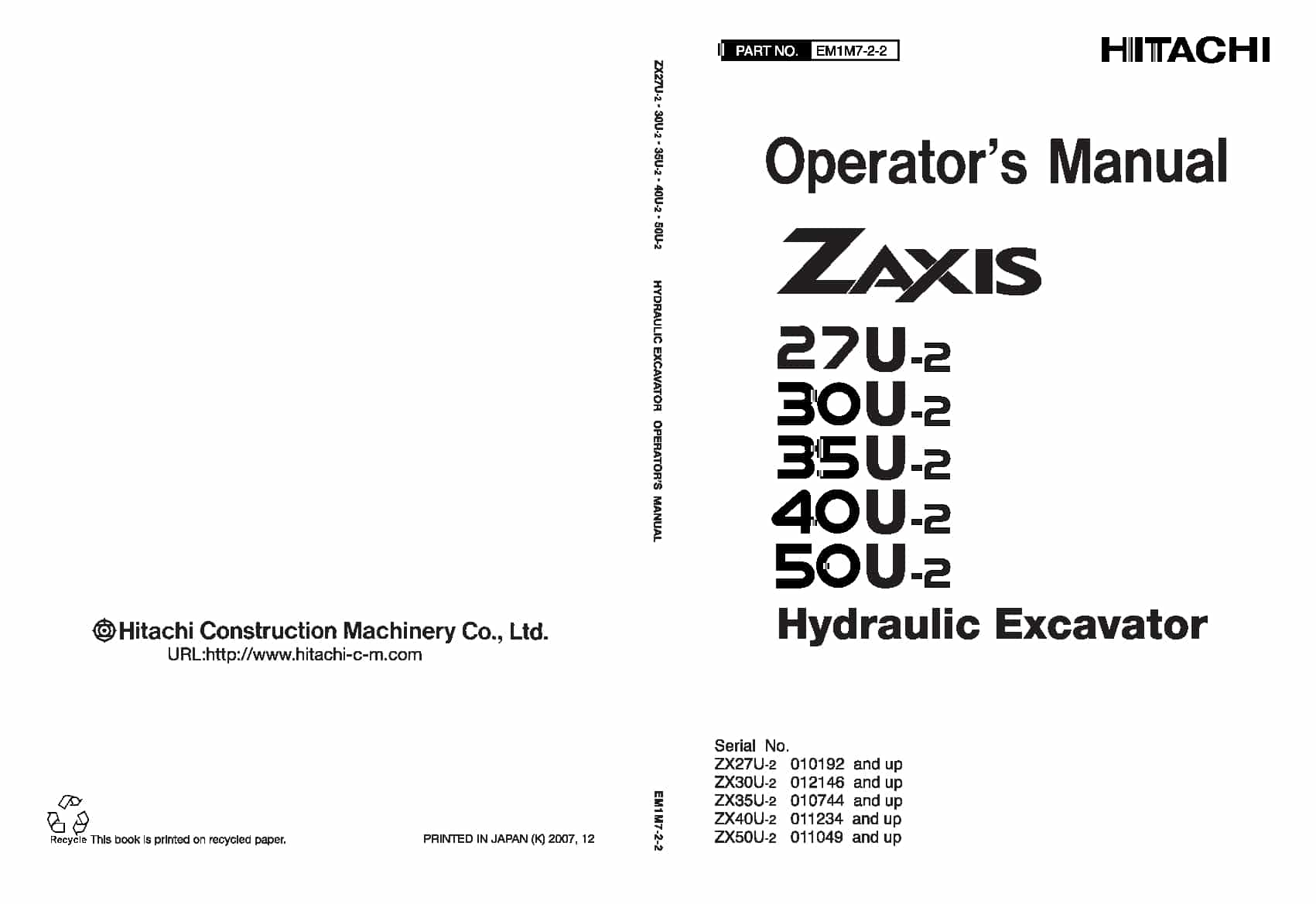Hitachi ZX27-2 30 35 40 50U-2 Excavator Operation and