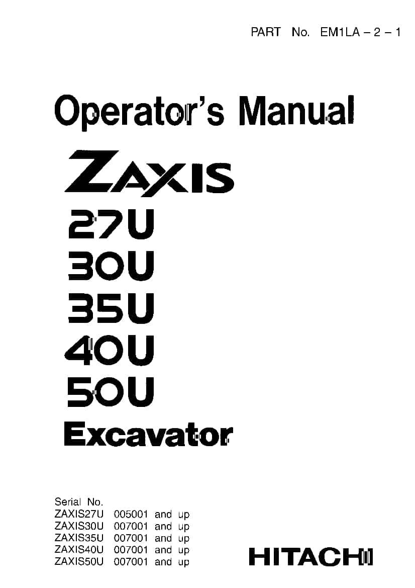 Hitachi ZX27U 30U 35U 40U 50U Excavator Operation and