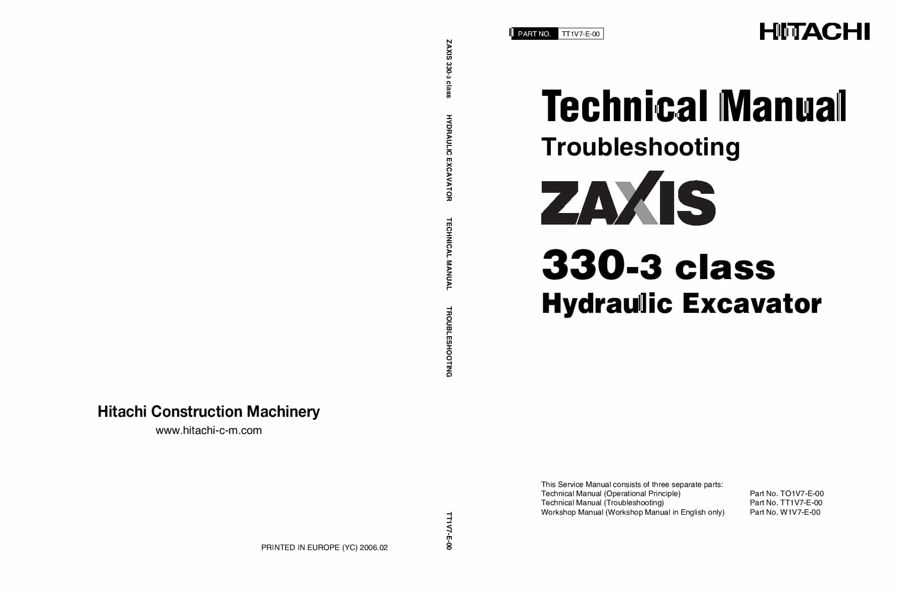 Hitachi ZX330-3 Excavator Troubleshooting Technical Manual