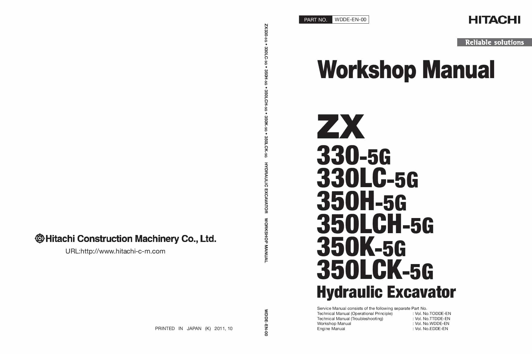 Hitachi ZX330-5 350-5 Hydraulic Excavator Workshop Repair