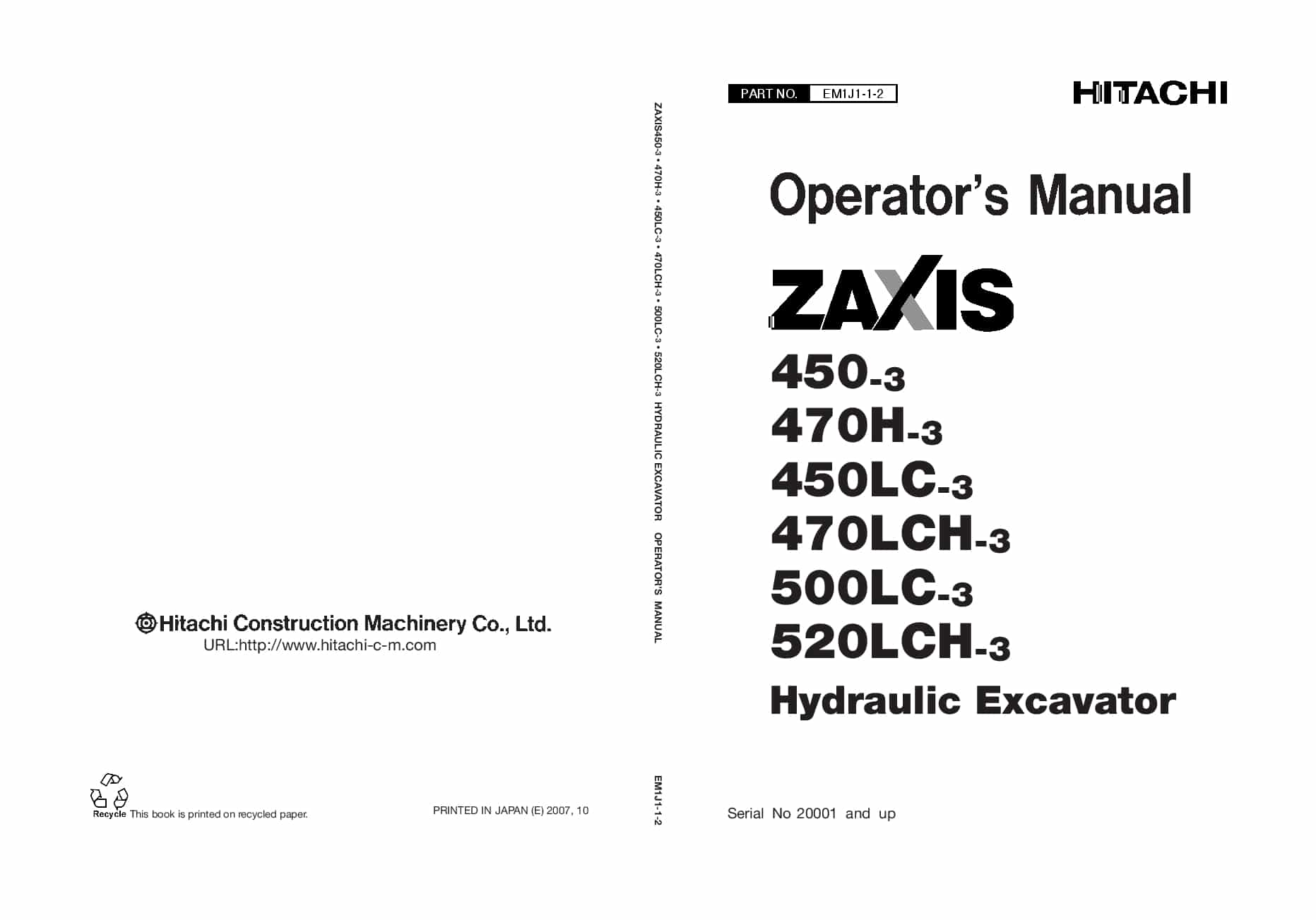 Hitachi Ex60 3 Excavator Operators Manual