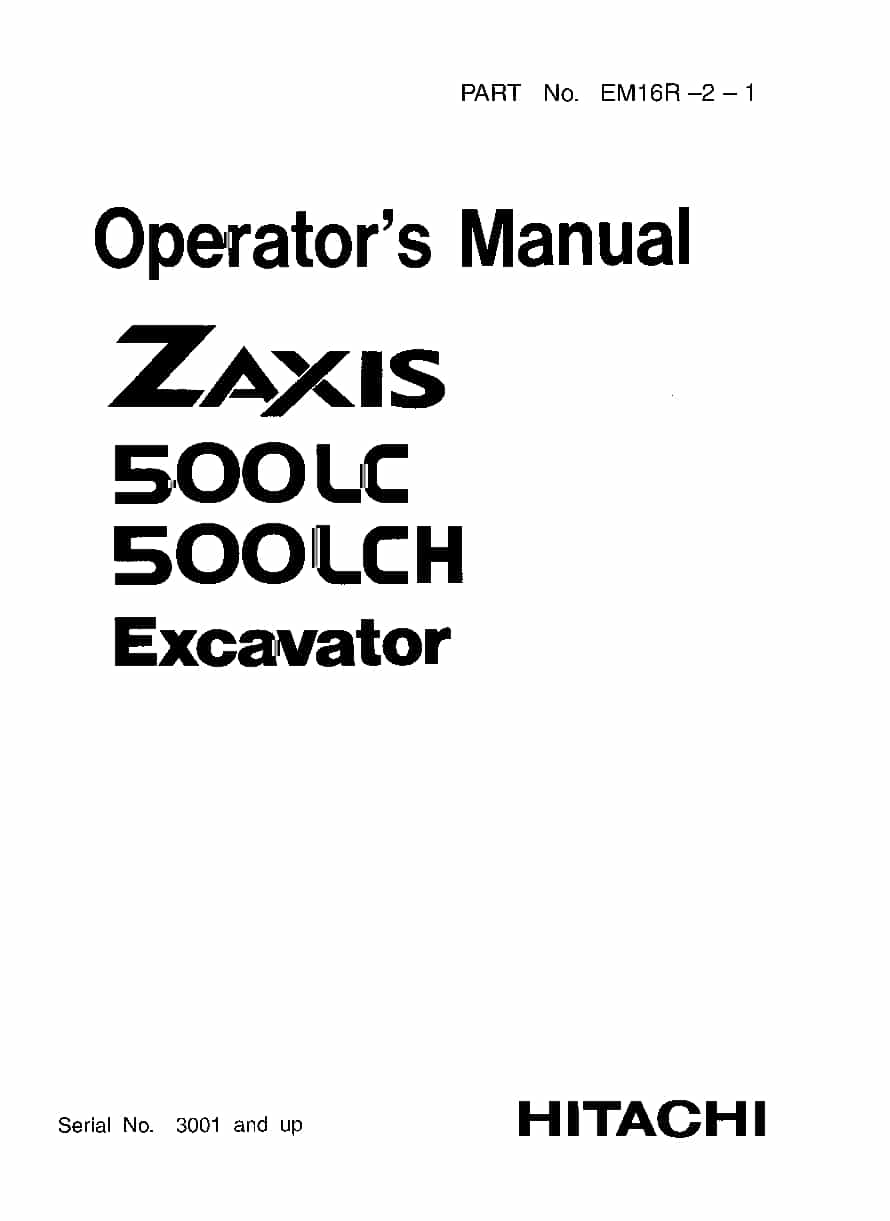 Hitachi ZX500LC LCH Excavator Operation and Maintenance