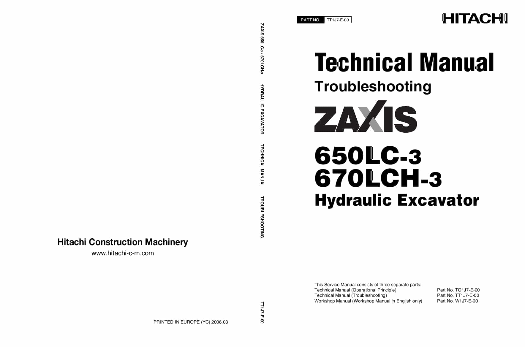 Hitachi ZX670-3 650-3 Excavator Troubleshooting Technical