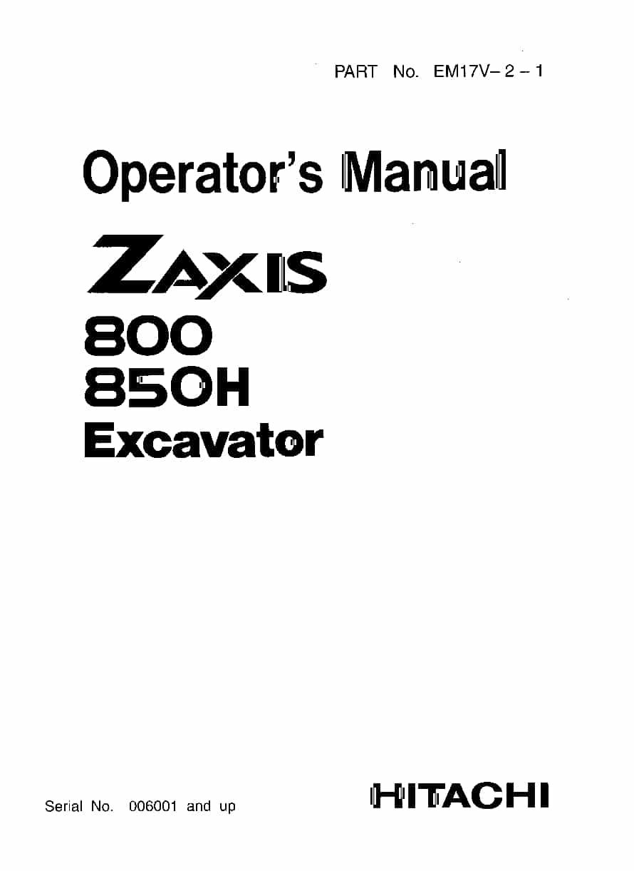 Hitachi ZX(800-850) Excavator Parts Manual PDF Download