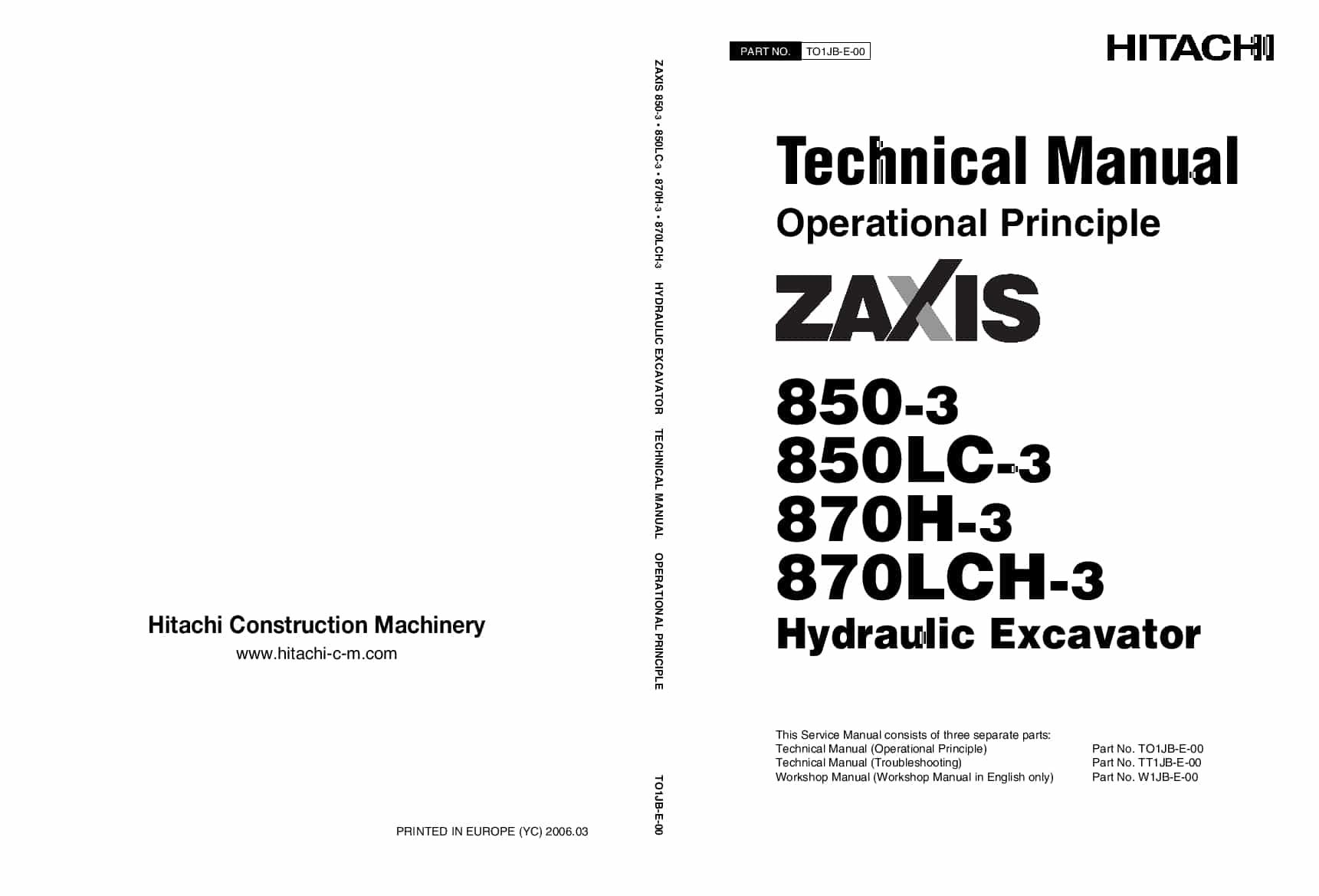 Hitachi ZX870-3 850-3 Excavator Operational Principle