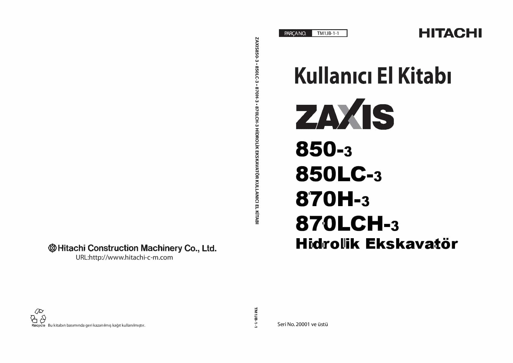 Hitachi ZX870-3 850 Excavator Kullanici El Kitabi PDF