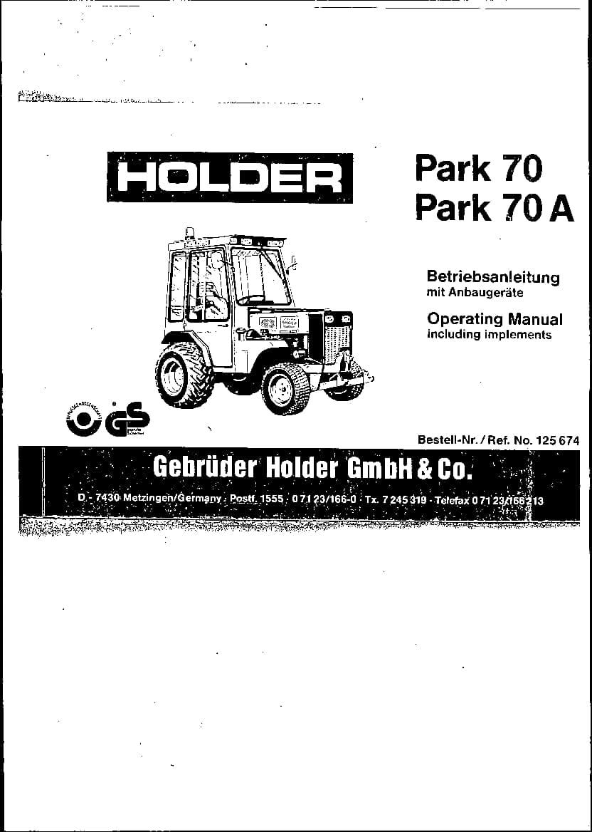 Holder Tractors P70-P70A Workshop Repair Service Manual