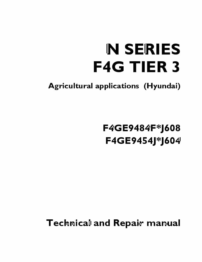 Hyundai IVECO F4GE engine Workshop Repair Service Manual