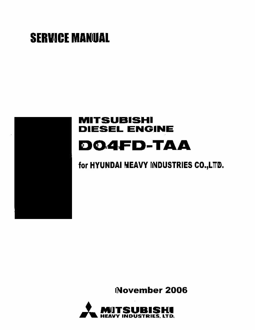 Hyundai MITSUBISHI D04FD-TAA engine Workshop Repair