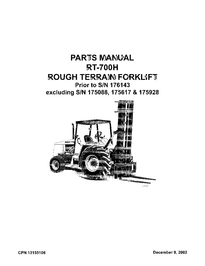 Ingersoll Rand RT-700 H Rough Terrain Fork Lift prior to