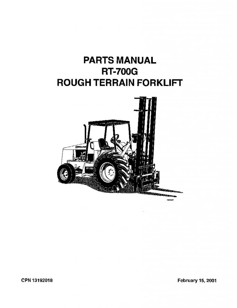 Ingersoll Rand RT700G Rough Terrain Forklift Parts Manual
