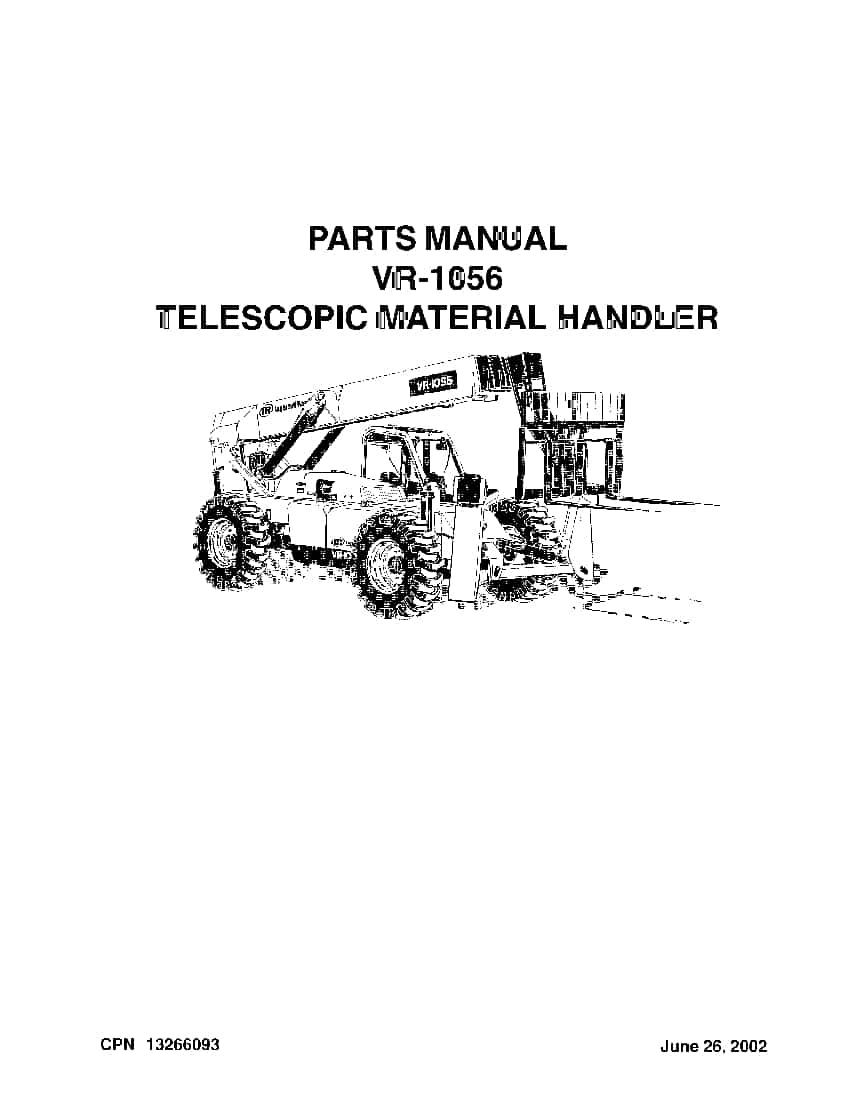 Ingersoll Rand VR-1056 Telehandler Parts Manual PDF
