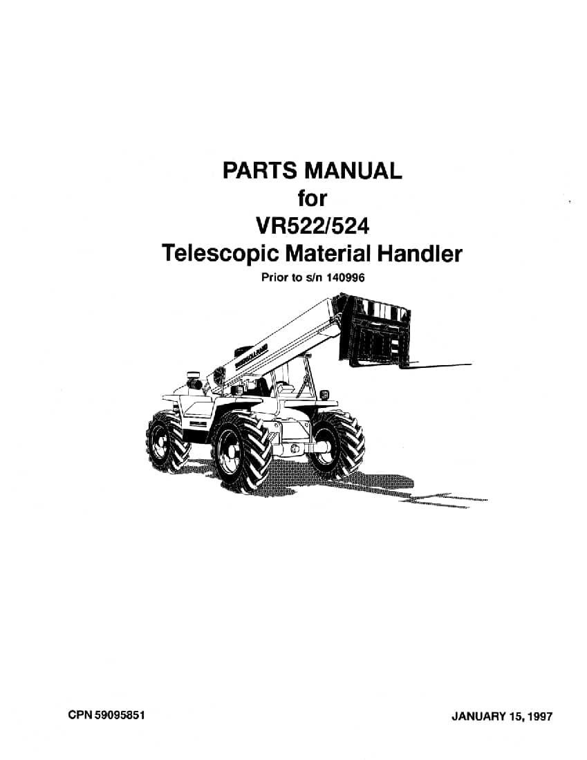Ingersoll Rand VR-524 Telehandler Parts Manual PDF