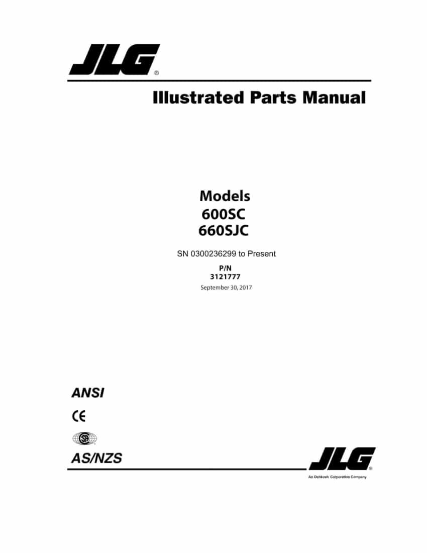 JLG 600SC AND 660SJC BOOM LIFT (SN 0300236299 TO PRESENT