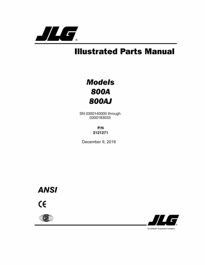 JLG 800A AND 800AJ BOOM LIFT (SN 0300140000 THRU