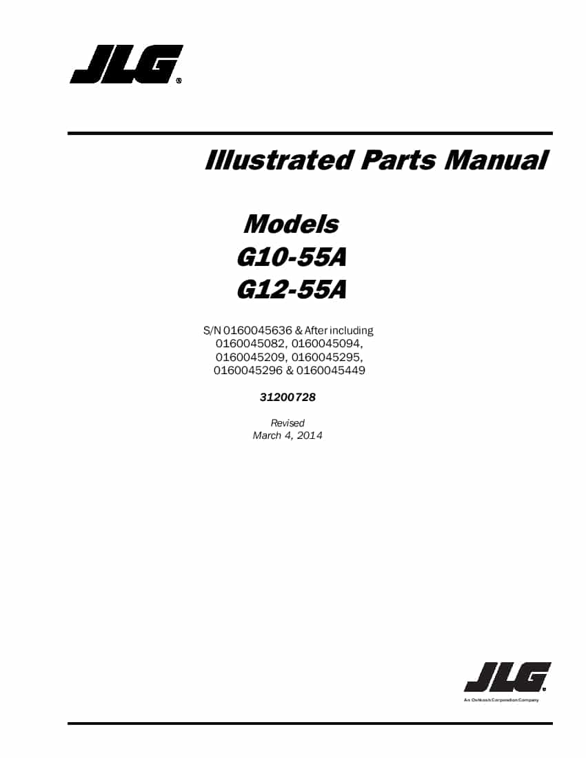 JLG G12-55A sn 0160045636 & after Telehandler Parts Manual
