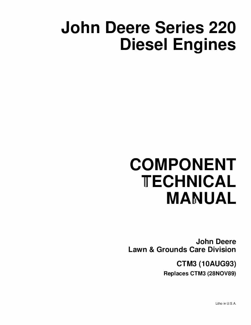 John Deere Motor Jd220 Workshop Repair Service Manual PDF
