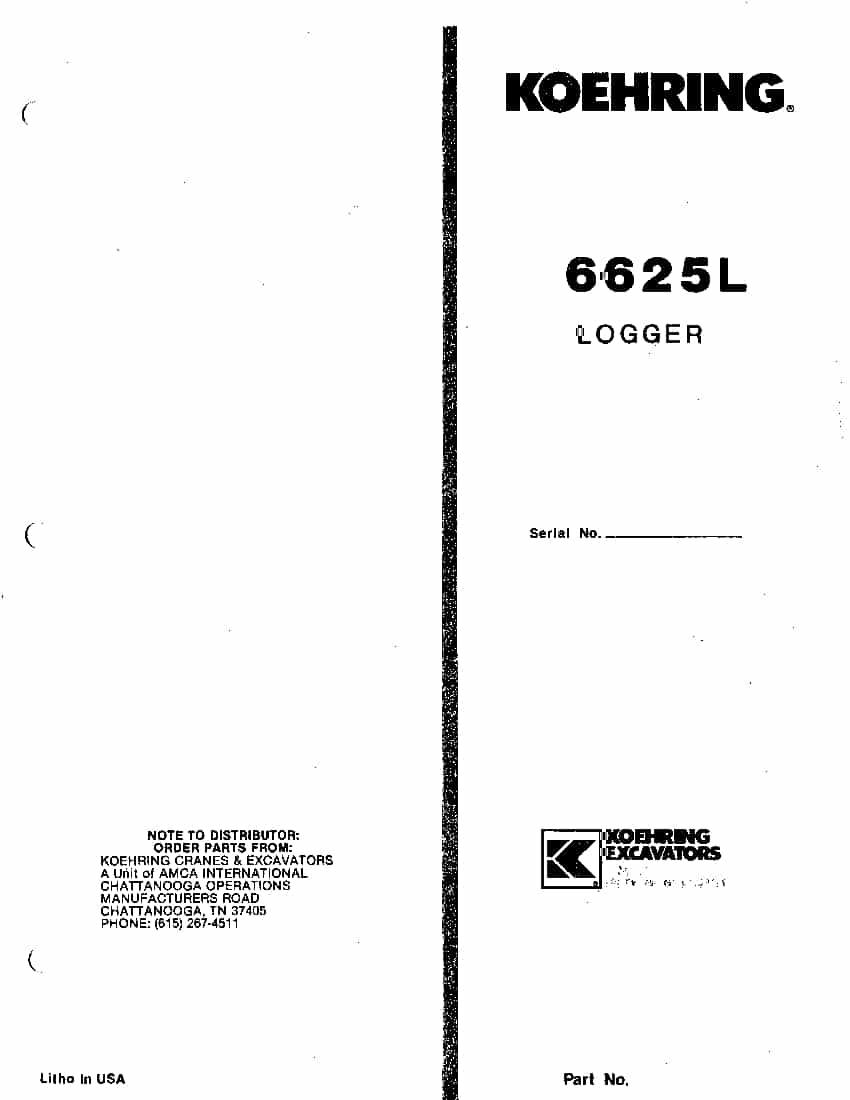 KOEHRING BANTAM 6625L EXCAVATOR Parts Manual PDF Download