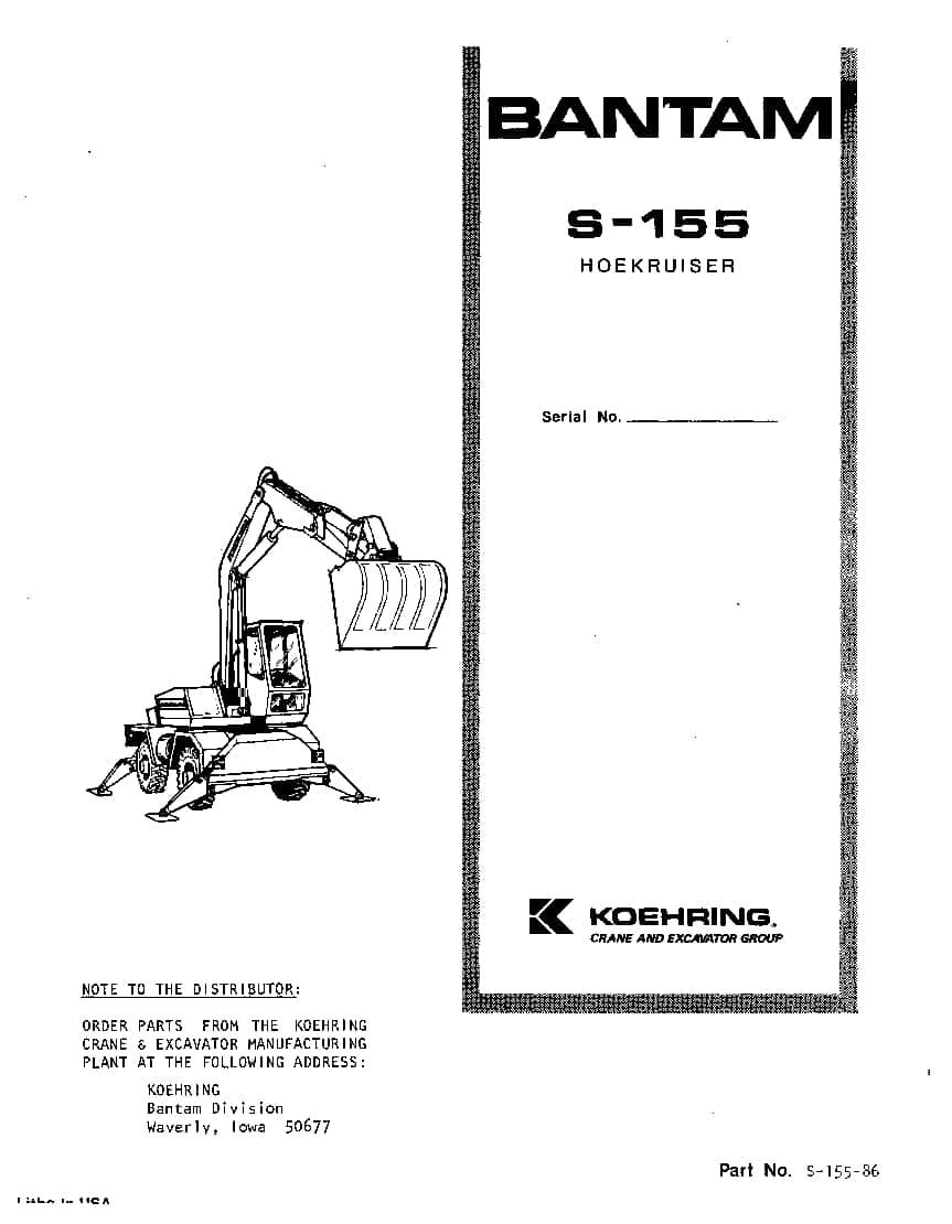 KOEHRING BANTAM S15560050 EXCAVATOR Parts Manual PDF