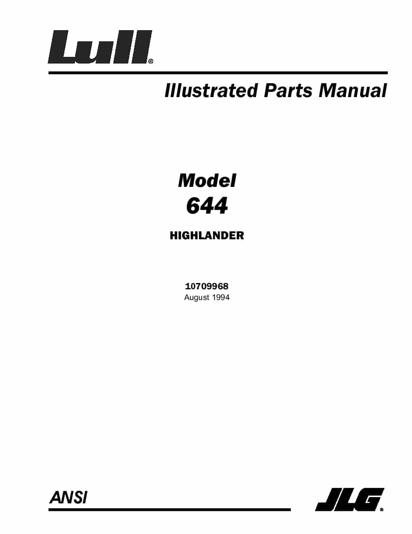 Lull 644 Highlander Telehandler Parts Manual PDF Download