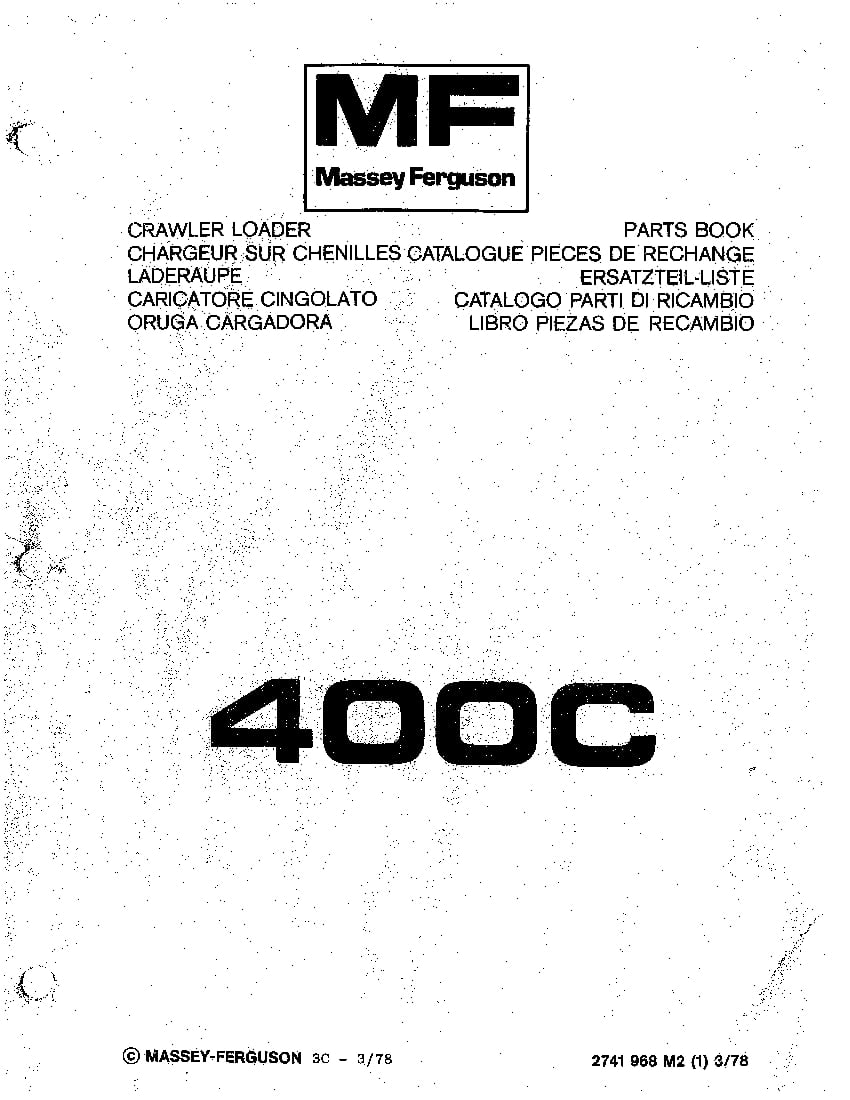 MASSEY FERGUSON DOZER 400C PM 2741968M2 Parts Manual PDF