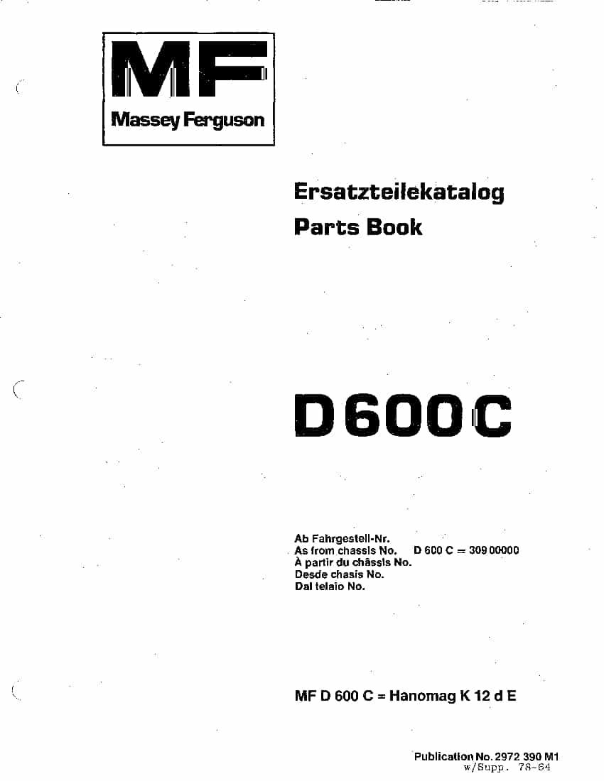 MASSEY FERGUSON DOZER D600C PM 2972390M1 Parts Manual PDF