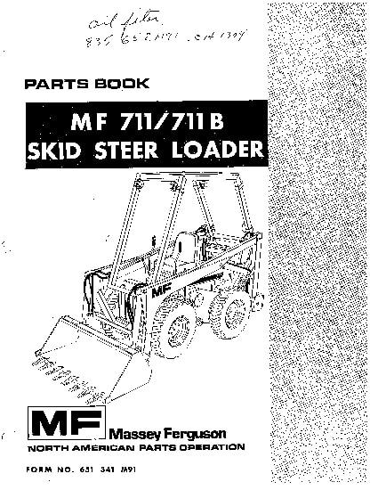 MF711,711B Skid steer loader Part Manual PDF Download