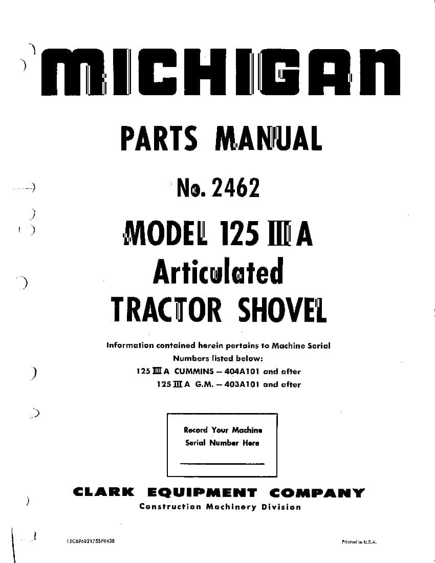 MICHIGAN 125 IIIA 2462 WHEEL LOADER Parts Manual PDF