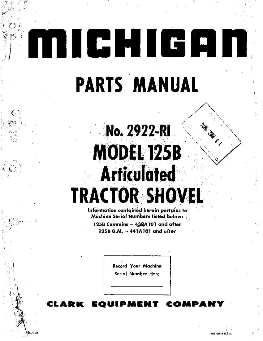 MICHIGAN 125B 2922-RI WHEEL LOADER Parts Manual PDF