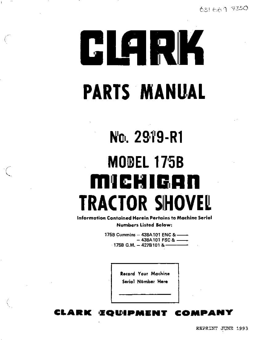 MICHIGAN 175B 2697-R1 WHEEL LOADER Parts Manual PDF