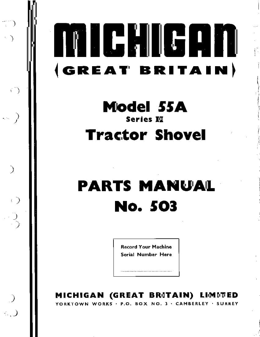 MICHIGAN 55A SERIES II 503 WHEEL LOADER Parts Manual PDF
