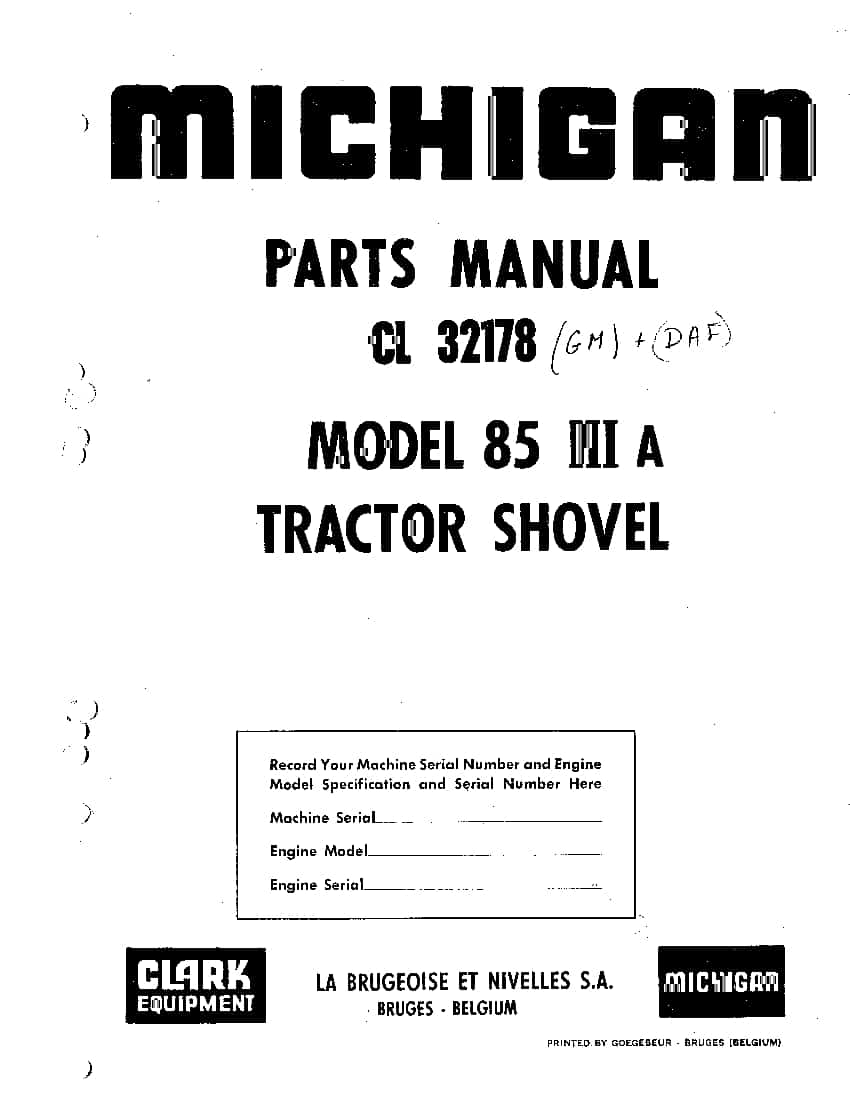 MICHIGAN 85 III A CL 32178 GM and DAF WHEEL LOADER Parts