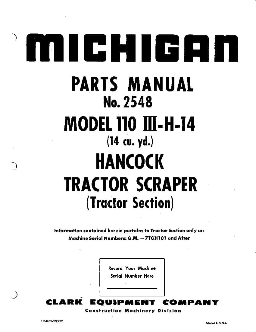 MICHIGAN SCRAPER 110 III-H-14 2548 Parts Manual PDF